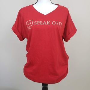 Z Dire Cuffed Short Sleeve Speak Out T-Shirt Red
